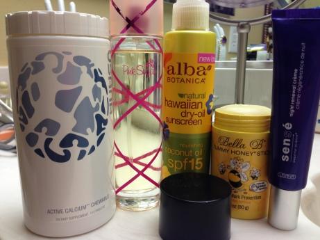 Calcium Chews, Perfume, Sunblock, Tummy Butter, and Night Cream